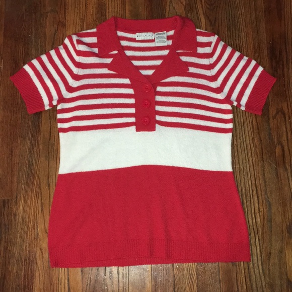 Vintage Sweaters - Vintage White Stag Red Polo Sweater